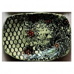 Red Flowers, Black Lace Stoneware Soap or Anything Dish