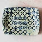 Delft Blue & White Stoneware Soap Dish – With Circles & Lace Flowers