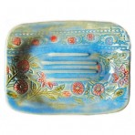 Light Blue with Bright Red Flowers – Stoneware Soap Dish