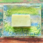 Vibrant Spring Green & Castille Blue LaceTextured Stoneware Soap Dish