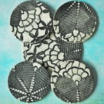 Black & White Lace Coaster/Trivet Set (Or Delft Blue & White)