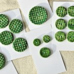 Dark Green Textured Stoneware Buttons