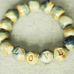 Rustic Beaded Word Bracelet in Blue and Tan