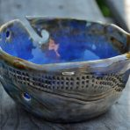 Blues Hand-built Stoneware Yarn Bowl