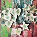 Hearts & Stars Rustic Pit Fired Leaf Ornaments