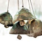 Rustic Pit Fired Leaf Bells