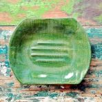 Dark Leaf Green Soap Dish With Plaid Texture