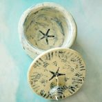 Round Jewelry or Trinket Box in Blue & White with Star Fish & Focal Bead