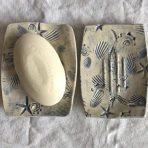 Ocean Inspired Soap Dish in Blue & Off White