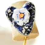 Blue Flower Lacy Heart Ring