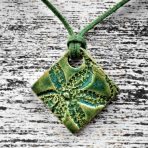 Dark Green Square Stoneware Statement Pendant with Lace Flower