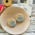Grey Kitty Button – Set of 2