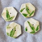 Hexagonal Shaped Buttons, Green Leaves – set of 2 buttons