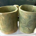 "Mug – 4"" Leaves – Celadon Green Glaze"
