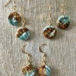 Robin Egg Blue & Gold Lace Earrings