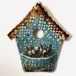 Bird House Wall Pocket – Brown & Blue