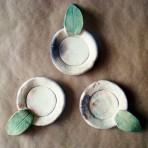 Tea Light/Trinket Holders with Elm Leaf Handles – Set of 3