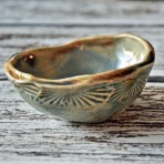 Brown and Blue Small Round Ceramic Catch all, Functional, Food Safe One of a Kind Bowl