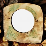 Rustic Pit Fired Mirror With Aspen & Elm Leaves