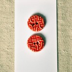 Celtic Knot Pattern-Red Stoneware Buttons