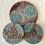 Brown and Blue Lace Coaster/Trivet Set