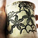 Lace Vase/Holder, Small – Black & White