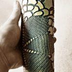 Black & White Cylindrical Lace Vase – 7″