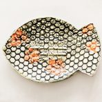 Fish Shaped Dish in Black, Red & Off White – Mesh and Flower Design