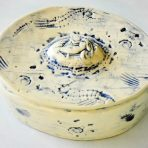 Oval Stoneware Jewelry Box in Blue & White With Mermaid Medallion and Sea Shells