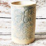 Blue & White Lace Cylindrical Vase