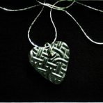Black Diamond Glazed Heart Pendant with Celtic Knot Texture – 16″ Silver Plated Chain