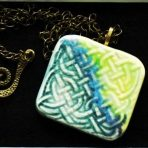 Spring Green & Blues Pendant on 20″ Antique Bronze Chain