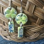 "Four Leaf Clover Earrings with ""Luck"""