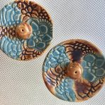 Round Incense Holders – Brown & Blue Lace
