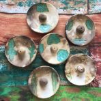 Round Incense Holders – Pit-fired with Leaf Motif