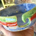 Yarn Bowl 2 – Blue, Green & Red – Coil Built