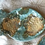 Fish Shaped Lace Dish in Robin Egg Blue & Gold