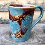 Tapered Mug – Brown & Blue Lace – Tall
