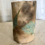 Pit-Fired Oak Leaf Vase/Holder